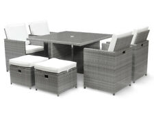 Harts Deluxe Rattan Cube 8 Seat Dining Set Patio Furniture in GREY - Refurbished