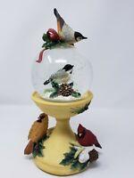 "Lenox Winter Greetings Bird Bath Musical Snow Globe plays ""Joy to the World"""
