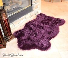"58"" x 84"" Nursery Rug Purple Lavender Plush Shaggy Flokati Carpet Rug Sheepskins"