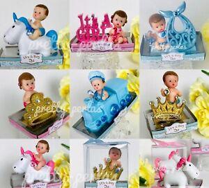 1PC Baby Shower Favor Boy Girl Cake Topper Decoration Figurines Gender Reveal
