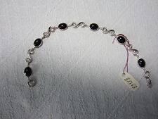 Onyx Bracelet .925 Sterling Silver S Link 7 inches Lobster Clasp New with tags