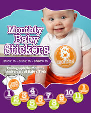 Boy or Girl Monthly Baby Belly Milestone Stickers - gender neutral - shower gift