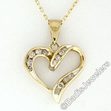 "10k Yellow Gold 16"" .26ctw Round Channel Set Diamond Open Heart Pendant Necklace"