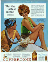 1963 Jill St John photo Coppertone suntan lotion scuba gear vintage print ad L69