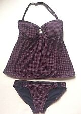 DKNY Womens Tankini Swimsuit Bathing Suit S Small XS Strapless Red Polka Dots