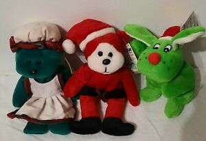 3 new Christmas beanie kids Noel Mrs kringle rover red nosed rein dog toys gifts