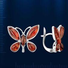 Russische Silber 925° Ohrringe  mit Bernstein Schmetterling Neu Glänzend
