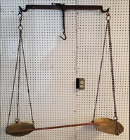 """HUGE 60"""" x 44"""" ANTIQUE BALANCE SCALE HAND FORGED IRON A633"""