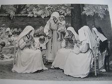 """PAUL-MICHEL DUPUY LITHOGRAPHIE """" ENFANTS & NONNES"""" Signé 1933 Tirage 2""""00 EX."""