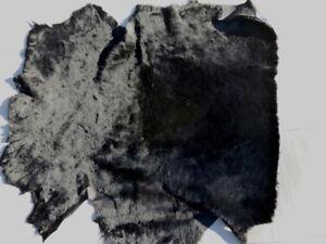 sheepskin shearling leather hide Jet Black Ultra Thin w/black suede back