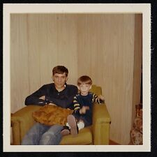 Vintage Photograph Young Man Sitting With Little Boy in Chair