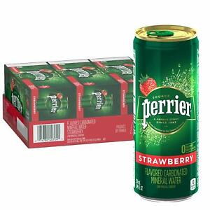 Perrier Strawberry Flavored Carbonated Mineral Water, 8.45 Fl Oz Cans (30 Pack)