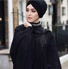 Dubai Eid Evening Abela Batwing Black Simple Abaya Jilbab Dress Hijab Size 56
