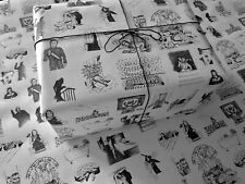 Horror Movies Classics on White Wrapping Paper - up to 8 Feet of Scary Gift Wrap