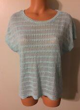 •• Women's Size Medium Cato Blouse SS Stretch Mesh Front Shirt Nice!