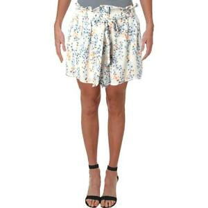 Aqua Womens White Floral Print Belted Day to Night Casual Shorts S  1452