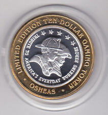 2003 O'SHEAS Tribute to USA Everyday Heroes .999 Fine Silver $10 Casino Token