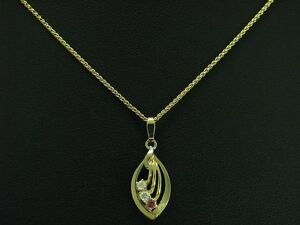 8kt 333 Yellow Gold Chain & Pendant With Ruby & Zirconia Trim/2,8g/45,0 CM