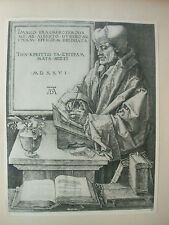 Albrecht DURER VINTAGE incisione su rame Erasmo da Rotterdam