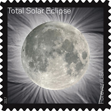 Total Eclipse Of The Sun Solar Moon Forever Stamps Book Sheet and Sleeve.