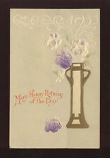 Greetings Birthday ART NOUVEAU Style Embossed Flowers PPC used c1900s