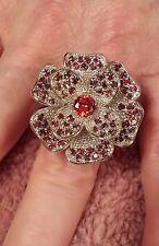 Sterling Silver Plated Large Garnet Gemstone Flower Ring Size 7