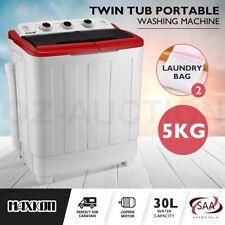 Maxkon 5KG Twin Spin Mini Washing Machine Portable Top Load Washer Dryer - Red