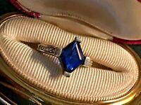 Vintage 925 Sterling Rhombus (Diamond) Shaped Sapphire Diamond Ring Size 7