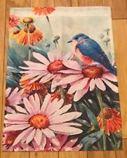 New listing Garden Flag: Blue Bird Robin Pink & Orange Flowers Daisies Euc