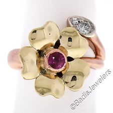 Vintage Retro 14K Rose & Green Gold 0.31ctw Ruby & European Diamond Flower Ring