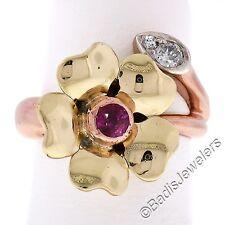 Vintage Retro 14K Rose & Green Gold 0.31ctw Ruby & European Diamond Flower Ring