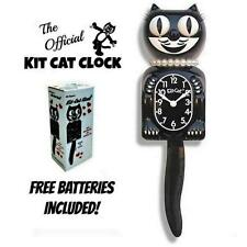 "CLASSIC LADY KIT CAT CLOCK 15.5"" Black White Retro NEW Free Battery MADE IN USA"