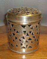 """Antique Betel Nut Box Repouse Coin Silver Hand Made Round 5"""" tall x 4"""" Diameter"""
