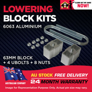 """Lowering Blocks Kit Ford Courier 2.5"""" (63mm) 1978-2006 75mm ID U-Bolts"""