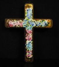 Crucifix cuivre émaillé sur bois Enamelled copper crucifix Kupferlack Kruzifix