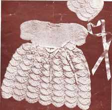 VINTAGE SHELL FROCK & BONNET / 3ply - 6 to 12 months - COPY knitting pattern
