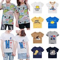 Unisex Kinder Jungen Mädchen Sommer Kurzarm T-Shirt Freizeit Cartoon Shirts Tops