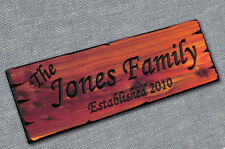 Personalized Custom Carved Cedar Wood Sign - Last Name Rustic Plaque Home Decor