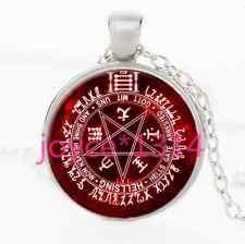 Pentagram Wiccan Cabochon Tibetan silver Glass Chain Pendant Necklace #2402