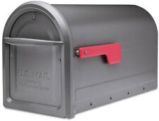 Large 00004000  Residential Mailbox Grey Galvanized Steel Rust-Free Hinges w/ Red Flag