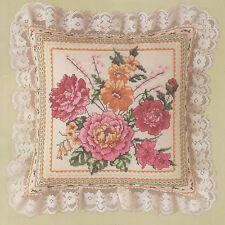 "Peony Pillow Counted Cross Stitch Kit Eyelet Candamar Designs 50136 12"" x 12"""