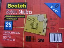 "(25) BUBBLE MAILERS 6"" x 9"" INTERIOR SELF SEALING CLOSURE SCOTCH 3M"
