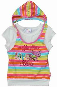 GIRLS HOODED SHORT SLEEVE TOP CREAM WITH APPLIQUE 18-24,2-3, 3-4, 4-5, 5-6 YEARS