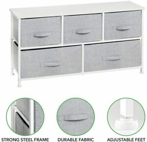 Fabric Chest of 5 Drawers Bedside Table Storage Unit Grey Bedroom Cabinet Stand