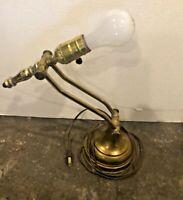 "Vintage Polished Brass Table Desk Lamp Double Hinged Adjustable 18"""