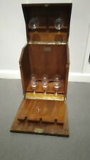 More details for antique/vintage rare j & f martell wooden drinks cabinet with glasses and key