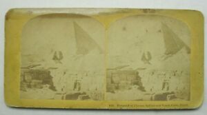 Antique Stereoview 1398 Pyramid of Cheops, Sphinx & Tomb Cairo Egypt B8