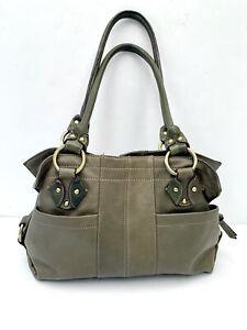 TIGNANELLO Dark Olive Green Pebbled Leather Hobo Satchel Handbag Double Handles