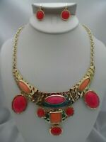 Clip on hammered gold pink, orange, multi colored necklace & clip on set