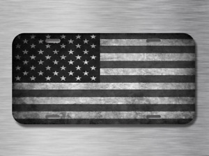 Black and White American Flag Vehicle License Plate 1776 Patroit USA United NEW